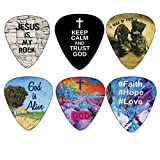 Christian Guitar Picks - 12 pack - Bible Inspirational Messages - Celluloid Medium by NewEights Best Gift for Church Pastor Worship Team Baptism