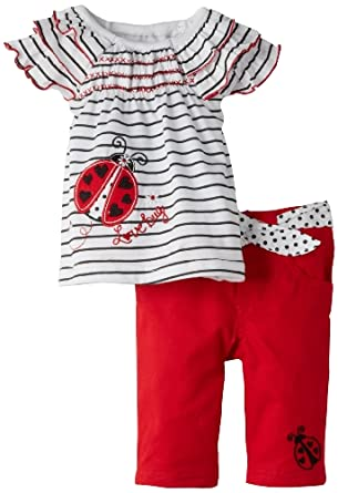 Young Hearts Baby-Girls Infant 2 Piece Love Bug Twill Capri Set, White, 12 Months