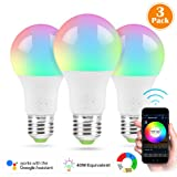 Nexlux LED Smart Bulb, 3 Pack Sunrise Wake-Up WiFi Lights,Cellphone Control Color Tunable Soft,Cool White,RGB Led Light Bulb 4.5W(40W Equivalent), Compatible Alexa Google Assistant (Color: Rgb+w-4.5w(40w Equivalent), Tamaño: Three Pack)