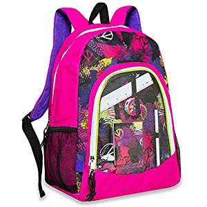School Supply Backpack - Pink with Peace Signs