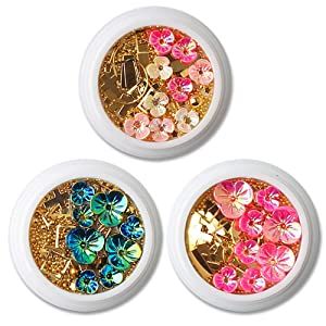 WOKOTO 6 Boxes 3D Nail Art Decoration Set Laser Mermaid Color Shell Flower Gold Nail Studs Manicure Jewelry With 1Pc Tweezers And Picker Pencil
