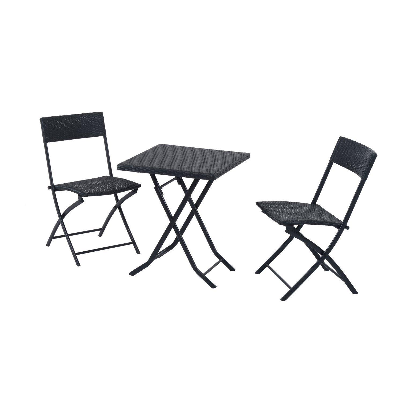Outsunny Gartenmöbel Polyrattan Bistro set, Balkonmöbel Garnitur Sitzgruppe, 3 teilig, schwarz online bestellen