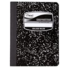 Mead Composition Book, College Ruled, 9.75 x 7.50 Inch Sheet Size, Black Marble, Bookbound, 100 Sheets (09932)