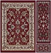 Ottomanson Paterson Collection Traditional Oriental Design Area Rug, Dark Red, 3Piece Set