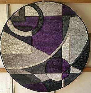 Amazon Modern Round Area Rug Purple&GreyDesign 322