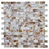 Art3d Mother of Pearl Wall Brick Shell Mosaic for Kitchen Backsplashes, Bathroom Walls, Spa Tile, Pool Tile