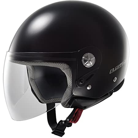LS2 Casque de moto noir brillant à mi-chemin Of518