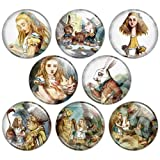 Alice's Adventures in Wonderland 1.25 Inch (32mm) Pinback Button Badge Set 3, Colors