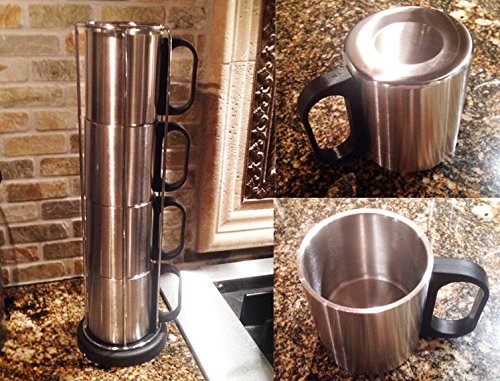Imperial Home Stainless Steel 4 Pcs Stacking Camping Coffee Cups Or Mugs Set With Rack