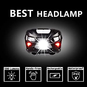 Rechargeable Cree LED Headlamp, Ultra Bright 500 Lumens with White Red Lights, Hands-free, Long Last 48 Hours, Lightweight with Portable Pouch, Best Headlight for Indoor Outdoor Many Lighting Use (Color: Thor-Black, Tamaño: Medium)