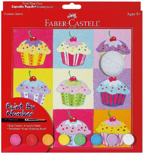 Faber-Castell - Paint by Number Cupcake Pop-Art Kit - Premium Kids Crafts