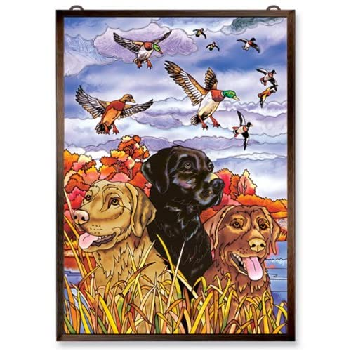 Amia Window Décor Panel Features a Colorful Labrador Dog and Duck Scene, 11-Inches Width by 15.5-Inches Length, Handpainted Glass