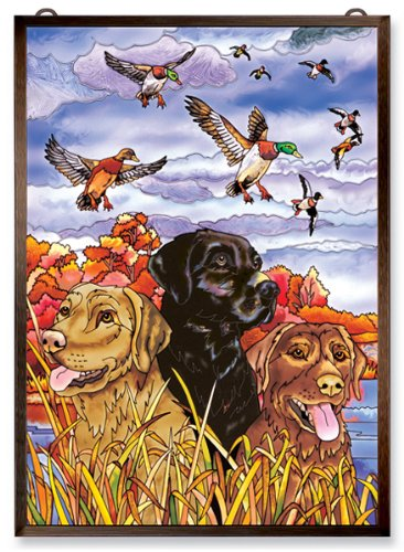 Amia Window Décor Panel Features a Colorful Labrador Dog and Duck Scene, 11-Inches Width by 15.5-Inches Length, Handpainted Glass 0