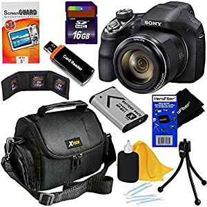 Sony Cyber-shot DSC-H400 20.1MP Digital Camera with 63x Zoom SteadyShot image stabilization Zoom & 720p HD Video + NP-BX1 Battery + 8pc Bundle 16GB Accessory Kit w/ HeroFiber® Gentle Cleaning Cloth