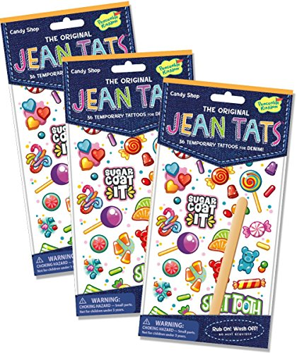 Peaceable Kingdom Jean Tats Sweet Treats Temporary Tattoos for Fabric - 3 Pack