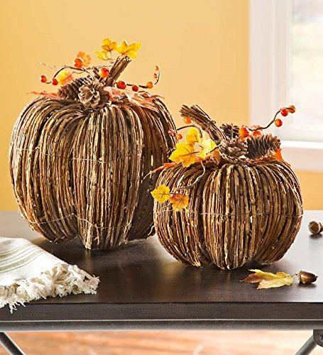 Set of 2 Rustic Rattan Pumpkins
