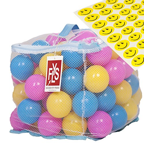 Flyspro-100-Phthalate-BPA-Free-Crush-Proof-Plastic-Balls-Variety-of-Colors-With-A-Zipper-Bag-FREE-BONUS-48-Fun-Smiley-Stickers-for-Children-to-Enjoy
