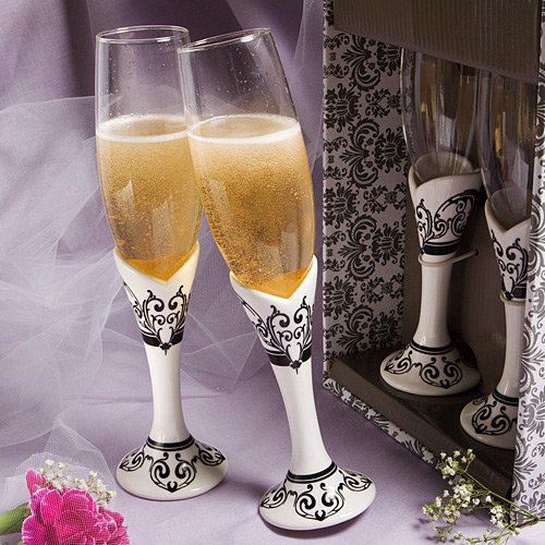 Wedding Favors Distinctive Damask Porcelain Collection Champagne Flutes