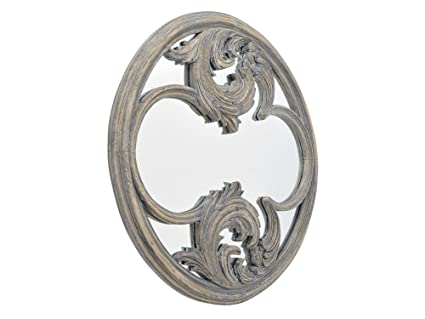 Galloway Hand Carved Wood Round Mirror