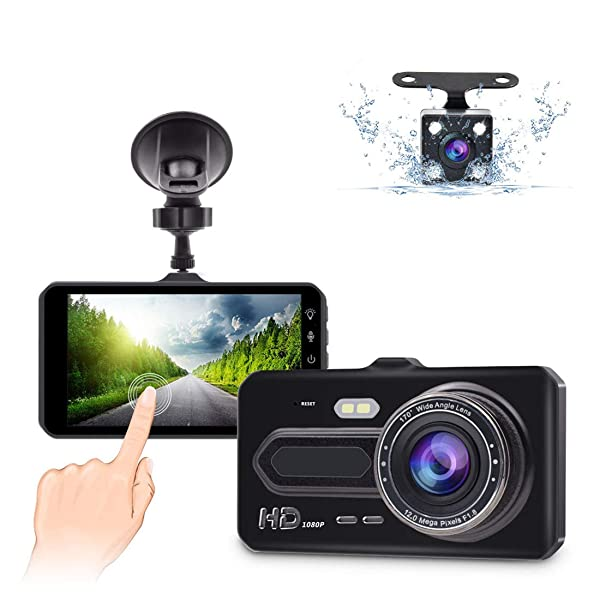 170/°Wide Angle Dashboard Camera DVR Motion Detection Parking Monitor G-Sensor HDR 3 Inch IPS Screen Dash Cam for Cars Dash Cam Front and Rear Camera FHD 1080P with Night Vision and SD Card Included