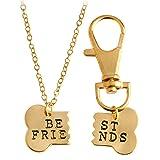 2pcs Friendship Jewelry Dog Bone Best Friends Charm Necklace Keychain BFF Bones Design (gold tone 1)