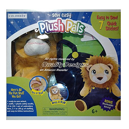 Sew Easy Plush Pals Lion from Colorbok and Bonus Crayons from CraZArt - 8 Vibrant Colors - 1