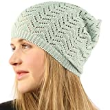 Unisex Chevron Vented Soft Knit Long Beanie Slouchy Slouch Skull Hat Cap