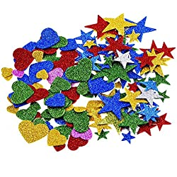 Outus 1.27 Ounce Foam Glitter Stickers, Star and Mini Heart