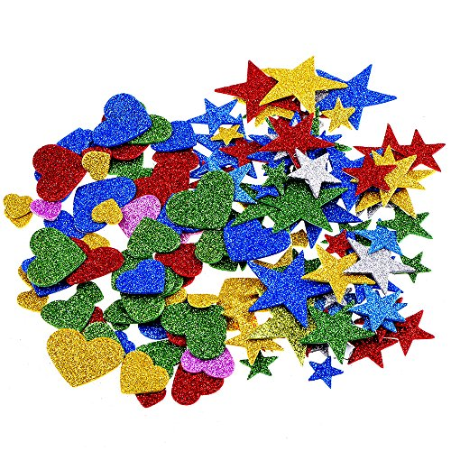 Foam Glitter Stickers, Star and Mini Heart
