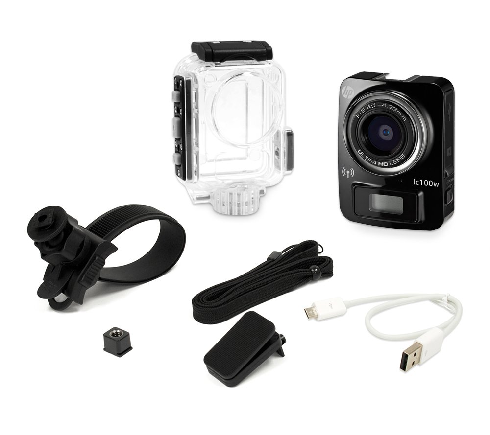 Hp lc100w mini 4k time lapse 1080p full hd water resistant camera w/ waterproof case (black)