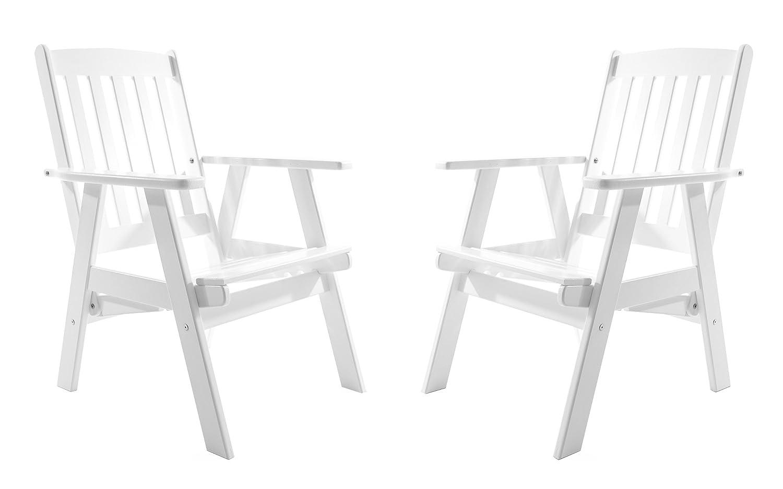 GARDENho.me 2er Set Massivholz verstellbarer Sessel VARBERG Hochlehner Weiß bestellen