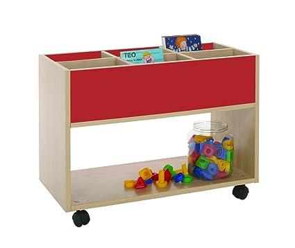 Mobeduc 600904HR10 Carrello-Libreria alta, in legno, colore: rosso ciliegia/faggio, 80 x 40 x 58 cm