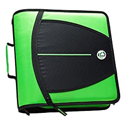 Case-it Mighty Zip Tab 3-Inch Zipper Binder, Neon Green, D-147-NEOGRN
