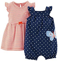 Carter\'s 2 Piece Dress & Romper Set (Baby) - Navy-6 Months