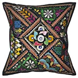 Lalhaveli Bright Stunning Floral Design Embroidered Mirror Work Cotton Single Cushion Cover 16 Inches - B00MY13D5C