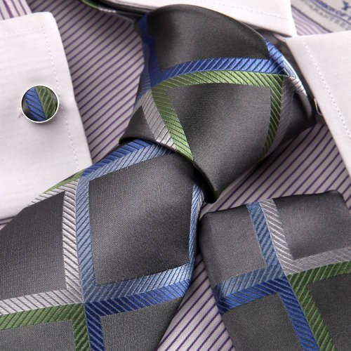 Gray Blue Checkers Woven Silk Neckie Handkerchiefs