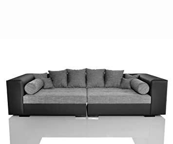 xxl couch stella schwarz grau sofa inklusive 10 kissen big. Black Bedroom Furniture Sets. Home Design Ideas
