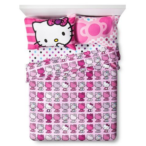 Hello Kitty 4 Piece Sheet Set - Fits Full Size Beds
