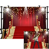 MME 7x5Ft Red Curtain Background Red Carpet Stairs Props Vinyl Photography Video Backdrop NANME853 (Color: NANME853, Tamaño: 7x5ft)