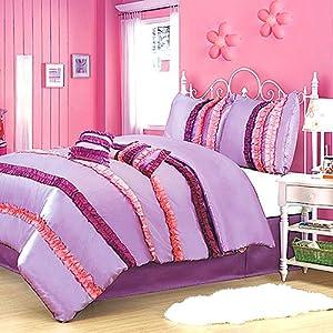 Ruffled kids girls purple pink twin 5 piece - Pink and purple comforter set ...