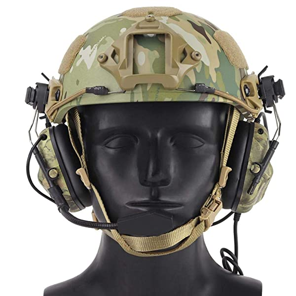 Womdee Tactical Headset, Electronic Shooting Earmuff Aviation Headset, Ear Protection Noise Reduction Sound Amplification Ear Muffs for Fast Helmets and Peltor Helmet Rail Adapter Set (Color: Color 5)