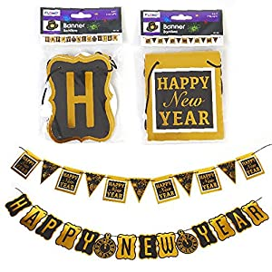 Happy Year Decoration - 5 foot Gold Black Letter Banner - 2 Pack by Nygala Corp.