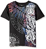Southpole Big Boys' Graphic Tee with Asymmetric Vertical Graphics and Logo