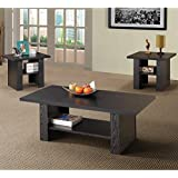Coaster 3 Piece Occasional Table Set in Black Finish