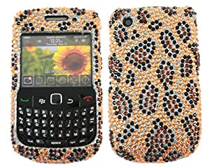 iTALKonline PREMIUM FunkGem YELLOW BLACK LEOPARD SKIN Diamonte Crystals 2 Part Front and Back Protective Armour/Case/Skin/Cover/Shell with Screen Protector and MicroFibre Cleaning Cloth for BlackBerry 8520 Curve, 9300 3G