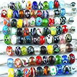 Silver Murano Glass Beads Fit European Charm Bracelet Spacer by eART 50pcs Mix
