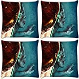 Snoogg Zombie Red Head Pack Of 4 Digitally Printed Cushion Cover Pillows 12 X 12 Inch