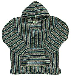 Baja Joe Striped Woven Eco-Friendly Hoodie (Avocado, Large)