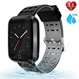 moreFit Fitness Tracker Smart Watch, IP68 Waterproof Fitness Watch Activity Tracker with Heart Rate Monitor, Wearable Smart Bracelet Sleep Monitor Step Counter Pedometer Watch for Men Women Kids, Grey (Color: Grey)