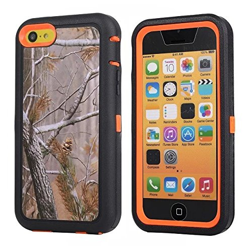 For Iphone 5c Case - FiversTM Heavy Duty Case 3 in 1 Three Advantages Waterproof Dustproof Shakeproof with Forest Camouflage Desig Cell Phone Cases for Iphone 5c Tree- Orange